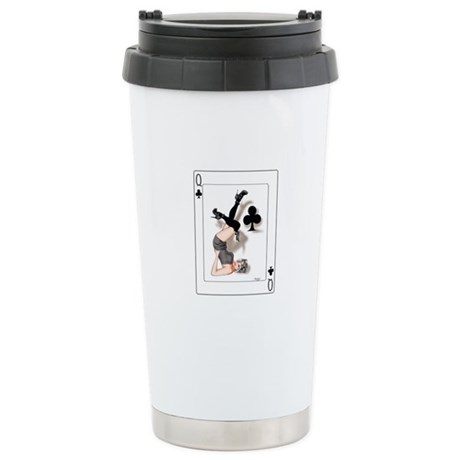 Queen of Clubs Pin-up Stainless Steel Travel Mug