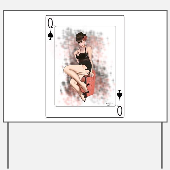 Queen of Spades Pin-Up Yard Sign
