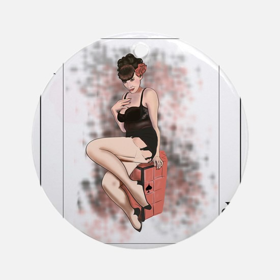 Queen of Spades Pin-Up Ornament (Round)