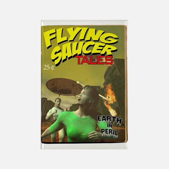 Flying Saucer Tales Fake Pulp Rectangle Magnet
