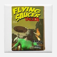 Flying Saucer Tales Fake Pulp Tile Coaster