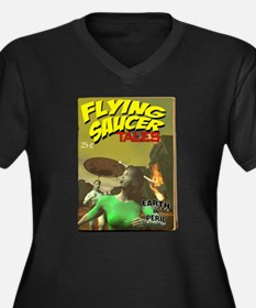 Flying Saucer Tales Fake Pulp Women's Plus Size V-