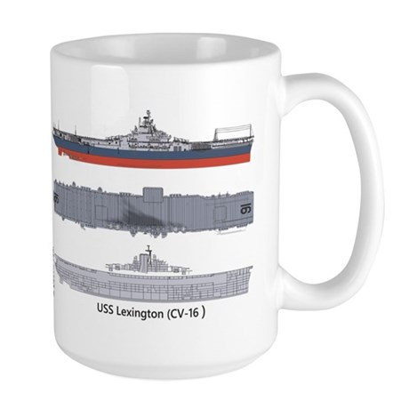 USS Lexington CV-16 Large Mug