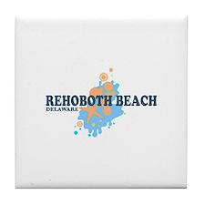 Rehoboth Beach DE - Seashells Design Tile Coaster