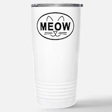 Meow Oval Stainless Steel Travel Mug