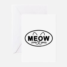 Meow Oval Greeting Cards (Pk of 20)