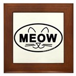 Meow Oval Framed Tile