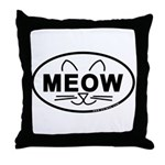 Meow Oval Throw Pillow