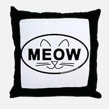 Meow Oval Throw Pillow