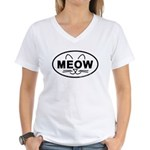 Meow Oval Women's V-Neck T-Shirt