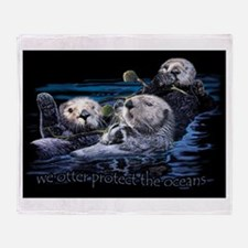 Unique Sea otter Throw Blanket