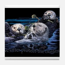 Cute Sea otters Tile Coaster