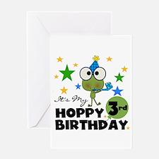 Hoppy Frogs 3rd Birthday Greeting Card