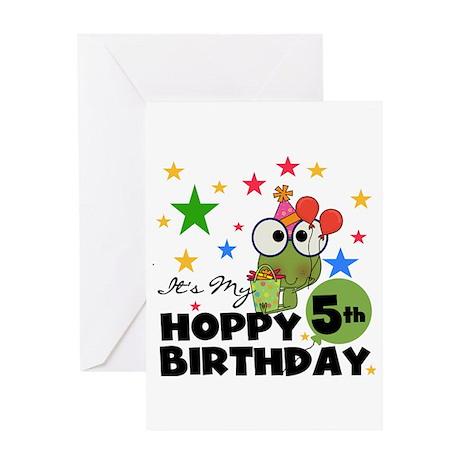 Hoppy Frogs 5th Birthday Greeting Card