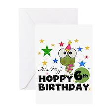 Hoppy Frogs 6th Birthday Greeting Card