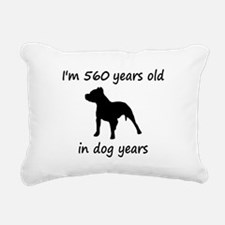 80 Dog Years Pitbull 1C Rectangular Canvas Pillow