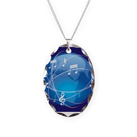 Mixed Musical Notes (world) Necklace Oval Charm