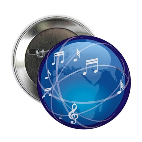 """Mixed Musical Notes (world) 2.25"""" Button (10 pack)"""