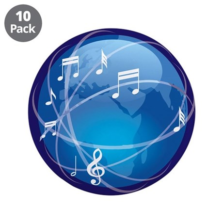 "Mixed Musical Notes (world) 3.5"" Button (10 pack)"