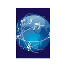 Mixed Musical Notes (world) Rectangle Magnet