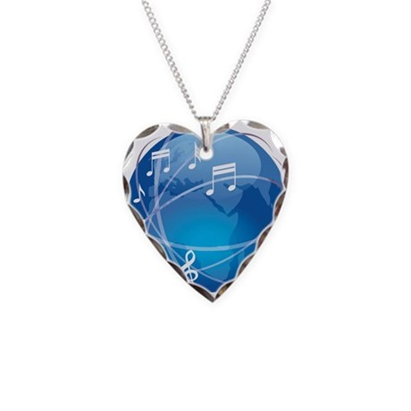 Mixed Musical Notes (world) Necklace Heart Charm