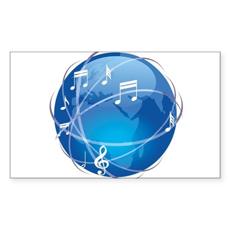 Mixed Musical Notes (world) Sticker (Rectangle 50