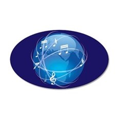 Mixed Musical Notes (world) 22x14 Oval Wall Peel