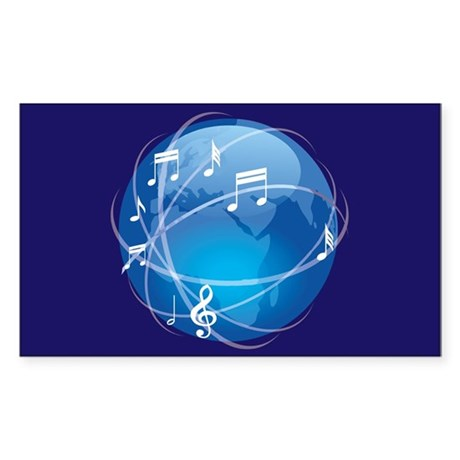 Mixed Musical Notes (world) Sticker (Rectangle)
