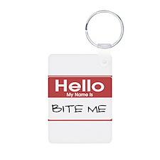 Bite Me Name Tag Keychains