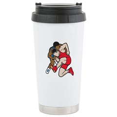 Two Wrestlers Stainless Steel Travel Mug