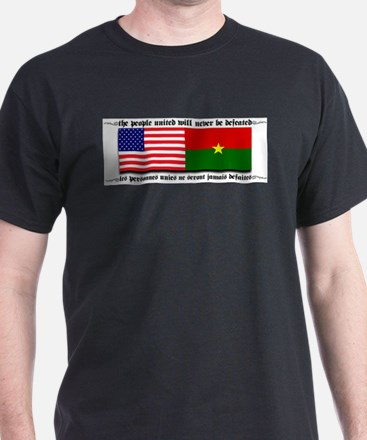 USA - Burkina Faso unite! Black T-Shirt