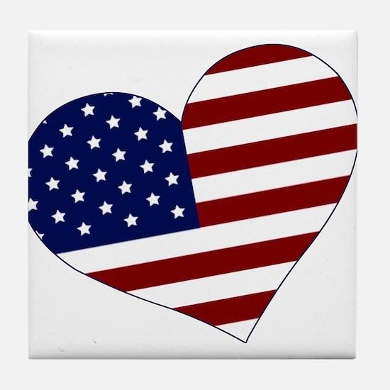 American Heart Tile Coaster