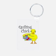Quilting Chick Text Keychains
