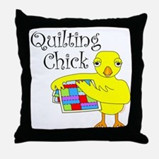 Quilting Chick Text Throw Pillow