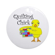 Quilting Chick Text Ornament (Round)