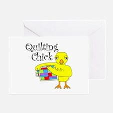 Quilting Chick Text Greeting Card