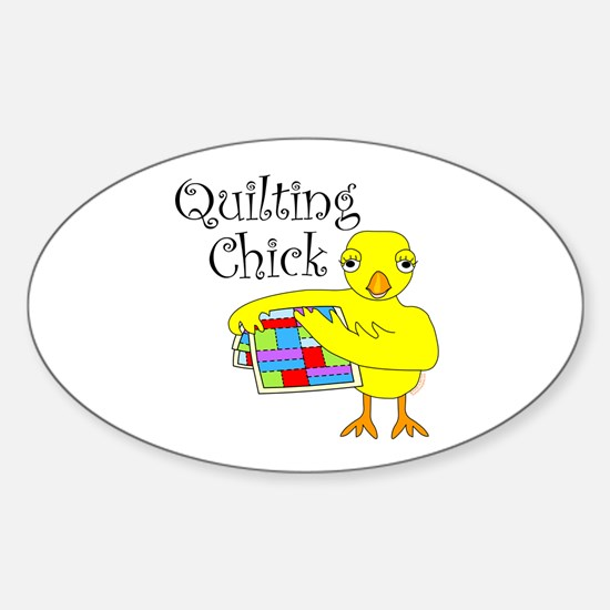 Quilting Chick Text Sticker (Oval)