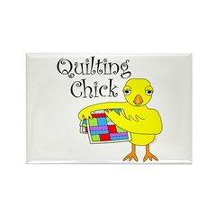 Quilting Chick Text Rectangle Magnet