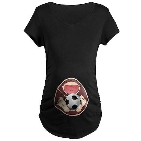 Soccer Baby in Belly Maternity Dark T-Shirt