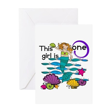 Mermaid 1st Birthday Greeting Card