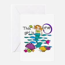 Mermaid 1st Birthday Greeting Card