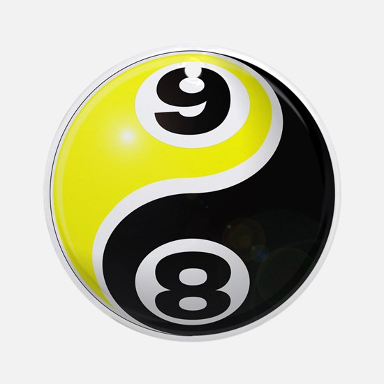 8 Ball 9 Ball Yin Yang Ornament (Round)