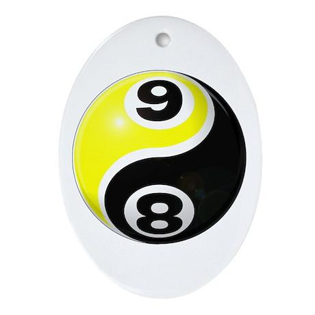 8 Ball 9 Ball Yin Yang Ornament (Oval)