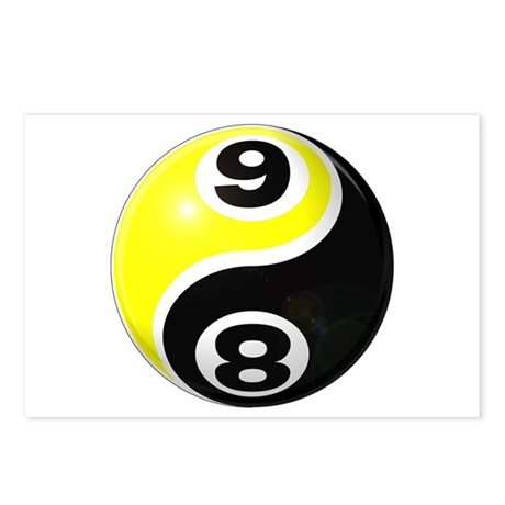 8 Ball 9 Ball Yin Yang Postcards (Package of 8)