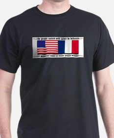 USA - France Black T-Shirt