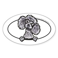 Gray Poodle Head n Paws Decal