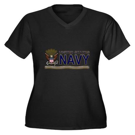 US Navy Eagle & Anchor Women's Plus Size V-Neck Da