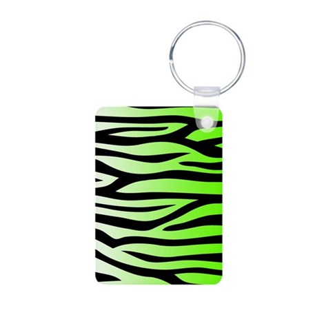 Lime Green Zebra Print Aluminum Photo Keychain