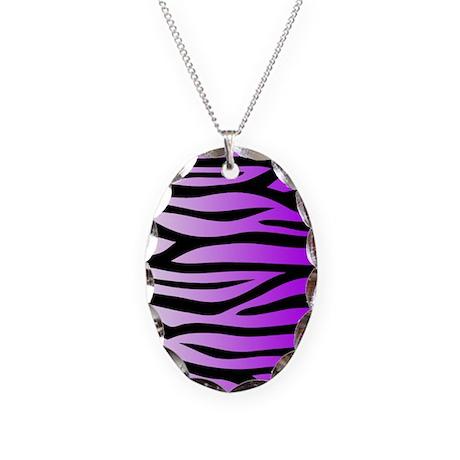 Purple Zebra Print Necklace Oval Charm