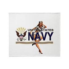 USN Navy Pin Up Babe Throw Blanket